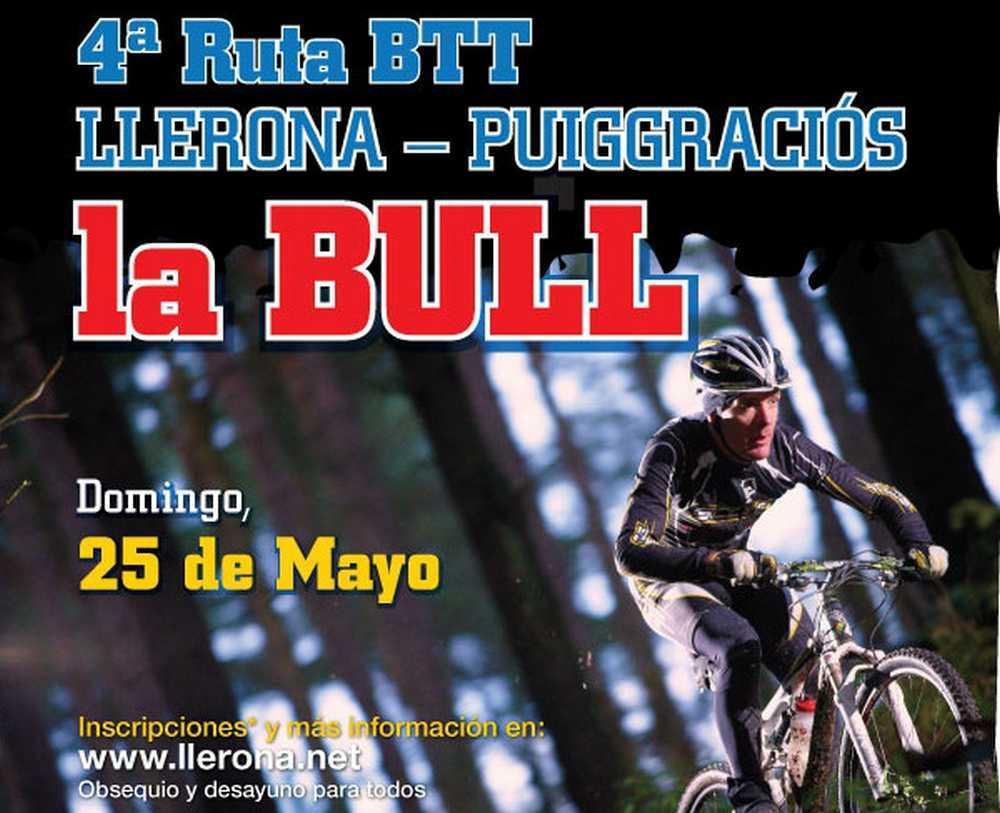 Cartel 4ª Ruta BTT Llerona-Puiggraciós LA BULL
