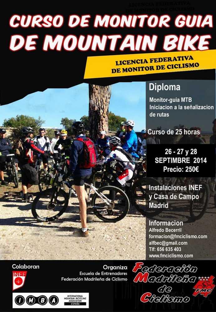 cartel Nuevo curso de monitor guía de MTB federacion madrileña
