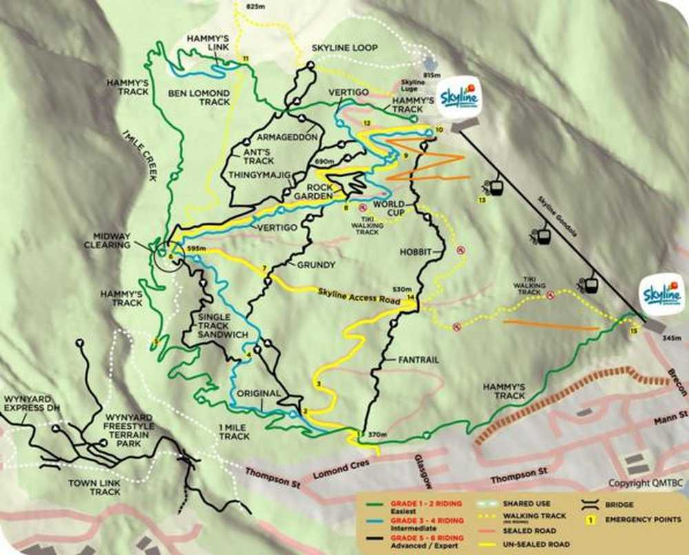 Queenstown-Bikepark map