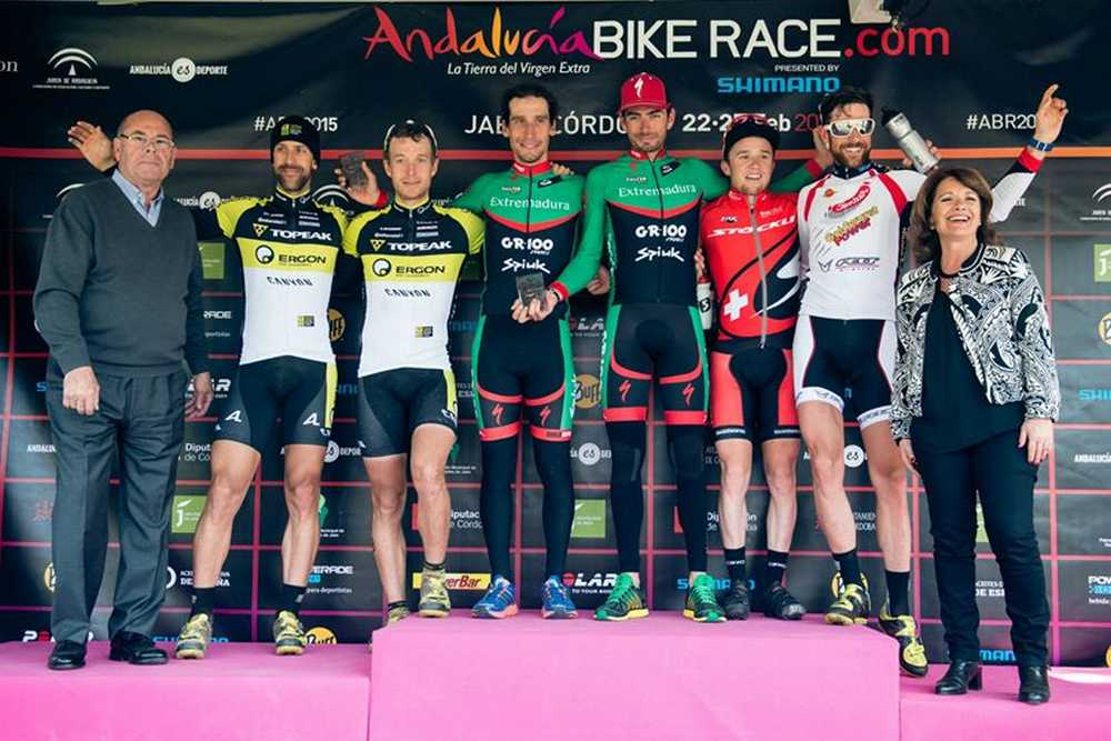 Podio Elite masculino quinta etapa Andalucia Bike Race ABR