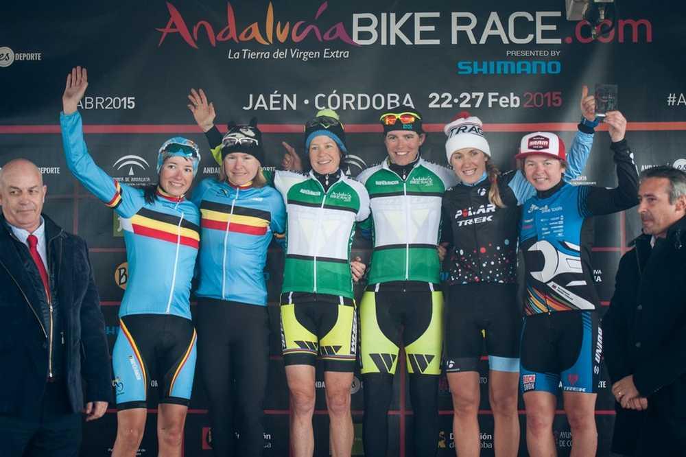 Podio elite femenino segunda etapa ABR Andalucia Bike Race 2015