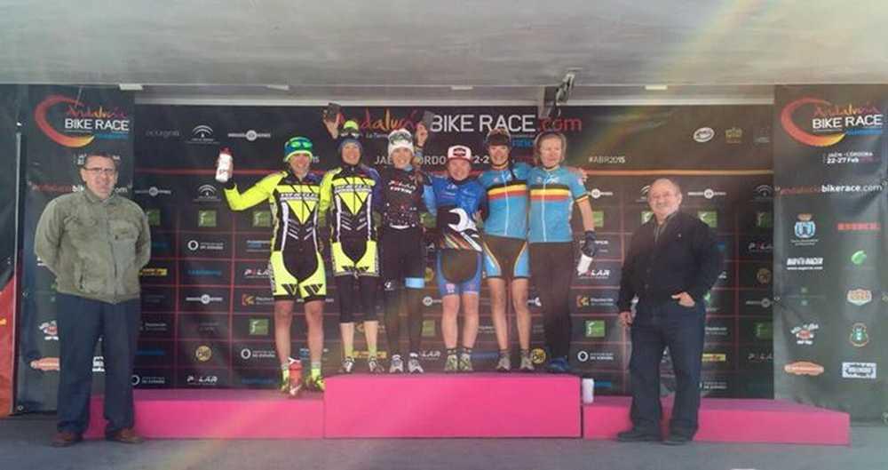 Podio femenino elite cuarta etapa Andalucia Bike Race 2015 ABR