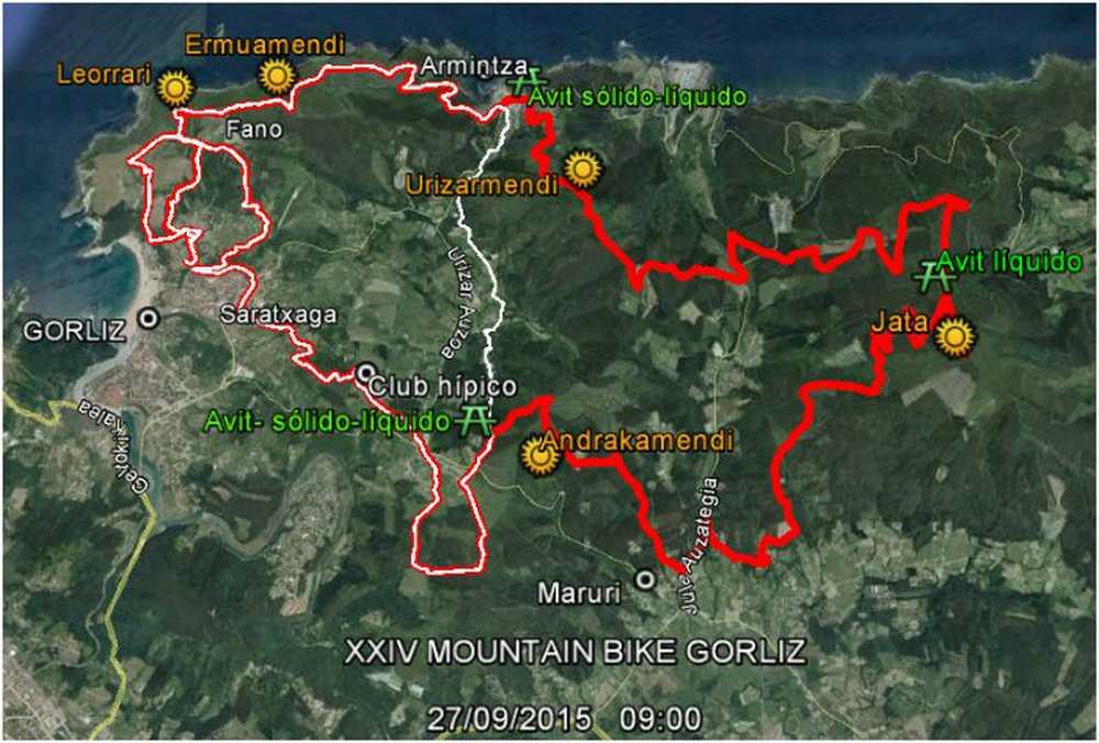 Mapa XXIV Marcha MTB Mendibike en Gorliz 2015