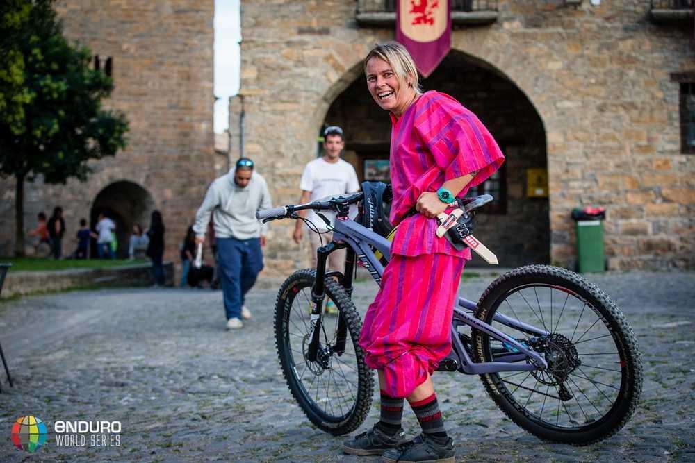 Anka Martin in fancy dress. EWS round 7, Ainsa, Spain. Photo by Matt Wragg.