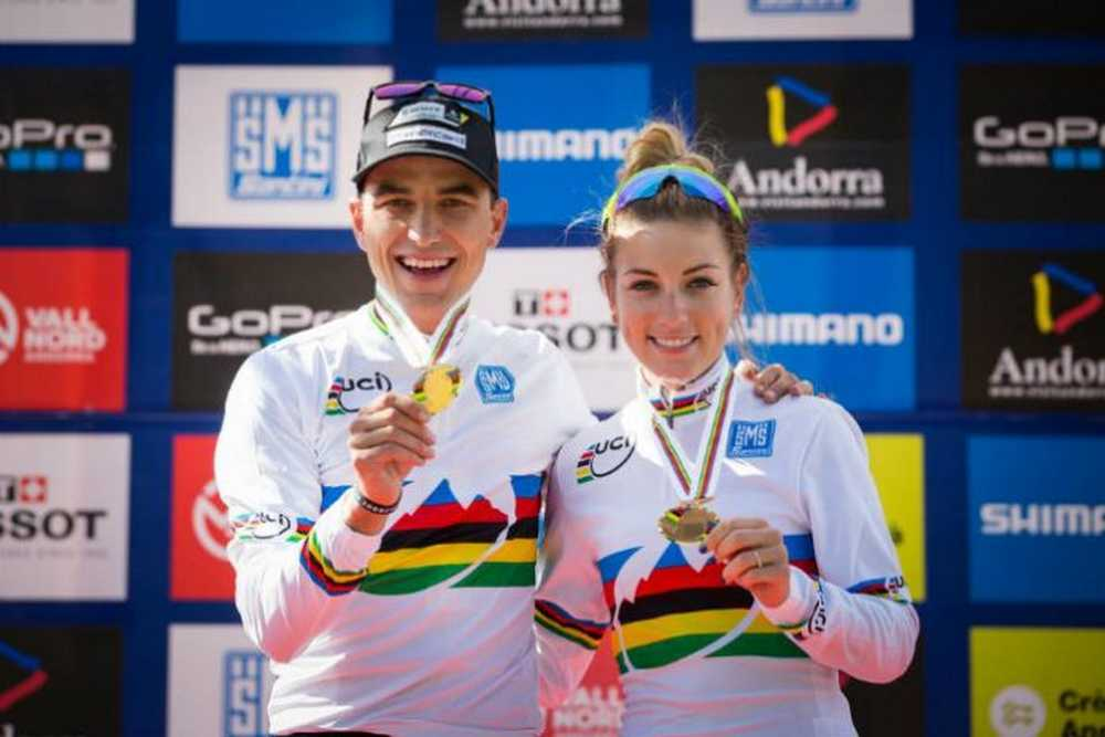 Nino Schurter y Pauline Ferrand Prevot Campeones del Mundo Élite XCO 2015 en Vallnord