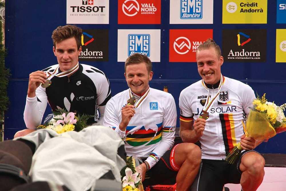 Podio masculino Campeonato del Mundo de XCE en Vallnord