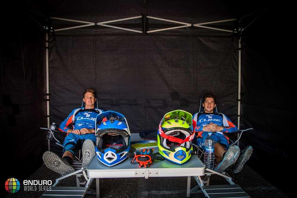 The Cube team relax ahead of the race. EWS round 7, Ainsa, Spain. Photo by Matt Wragg.