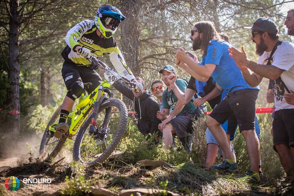 Martin Maes gets close to the fans on stage one. EWS round 7, Ainsa, Spain. Photo by Matt Wragg.