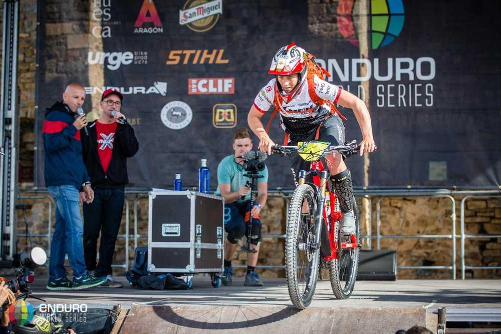 Tracy Moseley sets off. EWS round 7, Ainsa, Spain. Photo by Matt Wragg.