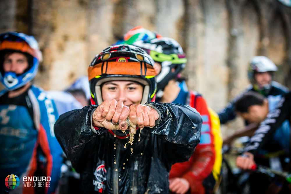 Isabeau Courdurier tries to fry her goggles bag. EWS round 7, Ainsa, Spain. Photo by Matt Wragg.