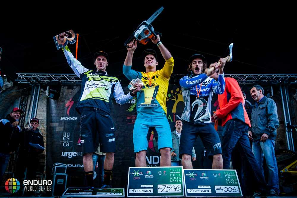 Mens podium. EWS round 7, Ainsa, Spain. Photo by Matt Wragg.