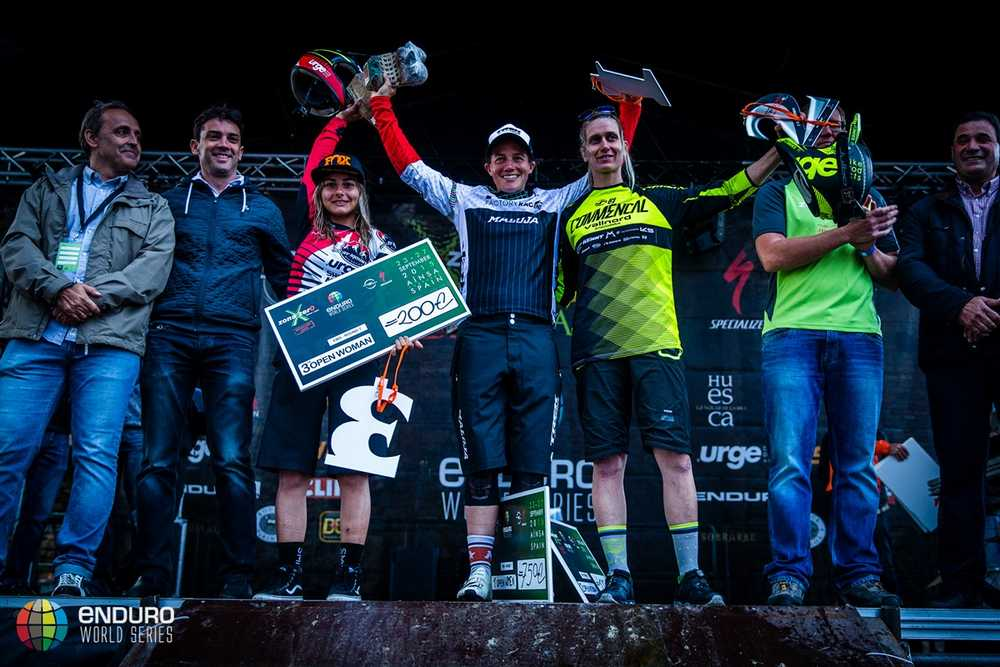 Womens podium. EWS round 7, Ainsa, Spain. Photo by Matt Wragg.