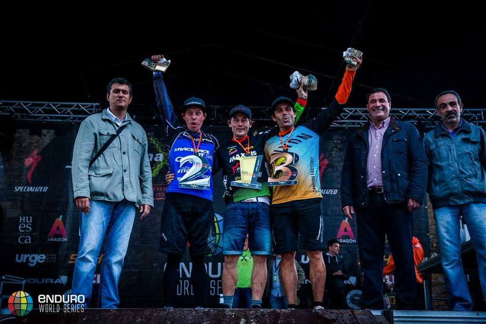 Masters podium. EWS round 7, Ainsa, Spain. Photo by Matt Wragg.