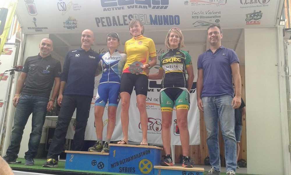 Podio femenino Elena González ganadora del Open de España Ultramaratón 2015