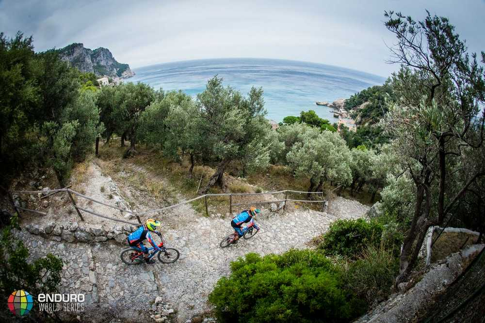 The Cube Action Team head to Noli after stagr four. EWS round 8, Finale Ligure, Italy. Photo by Matt Wragg.