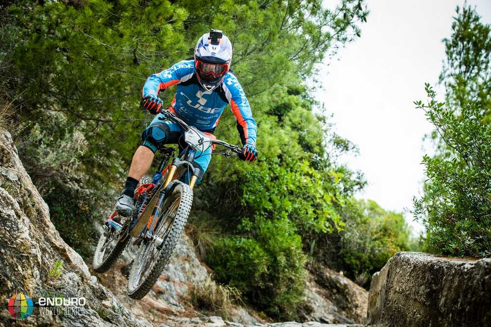 Nico Lau is a front runner here with the techincial stages. EWS round 8, Finale Ligure, Italy. Photo by Matt Wragg.