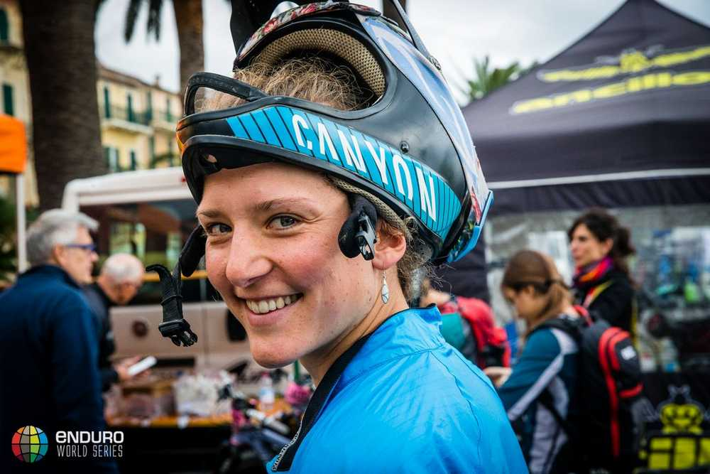 Ines Thoma at the start line. EWS round 8, Finale Ligure, Italy. Photo by Matt Wragg.