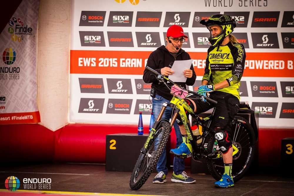Enrico Guala interviews Cecile Ravanel at the start line. EWS round 8, Finale Ligure, Italy. Photo by Matt Wragg.