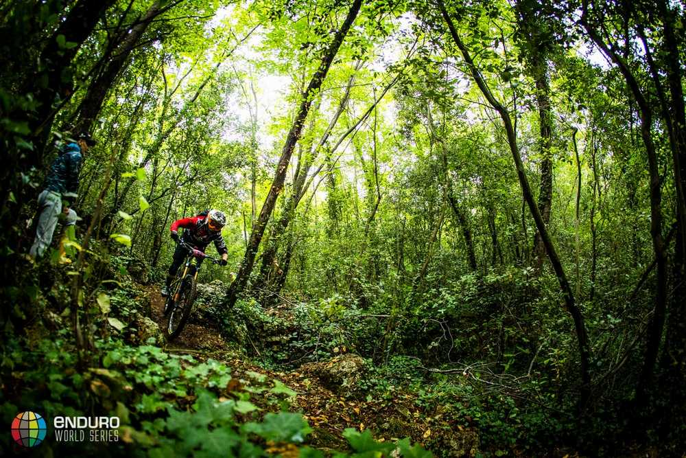 Andrea Nadeau-Lanthier on stage one. EWS round 8, Finale Ligure, Italy. Photo by Matt Wragg.