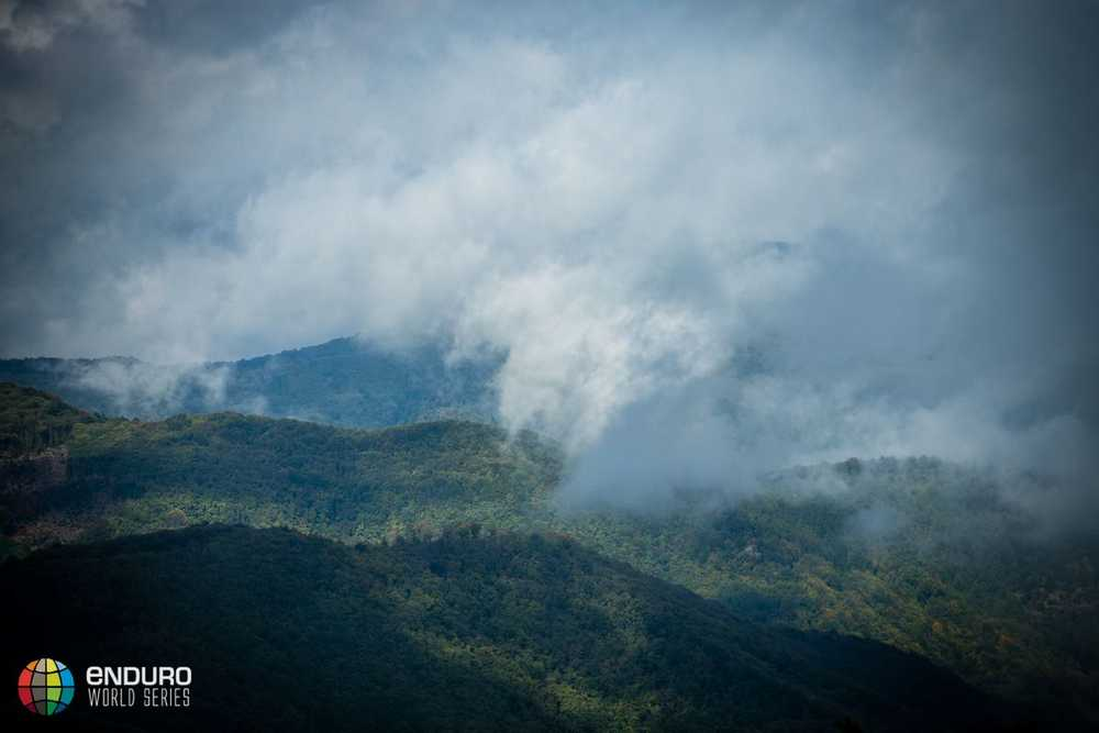 The mountains were cloudy this morning. EWS round 8, Finale Ligure, Italy. Photo by Matt Wragg.