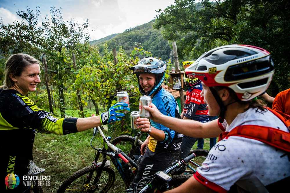 The top women cap the racing off with a beer together before the transfer to town. EWS round 8, Finale Ligure, Italy. Photo by Matt Wragg.