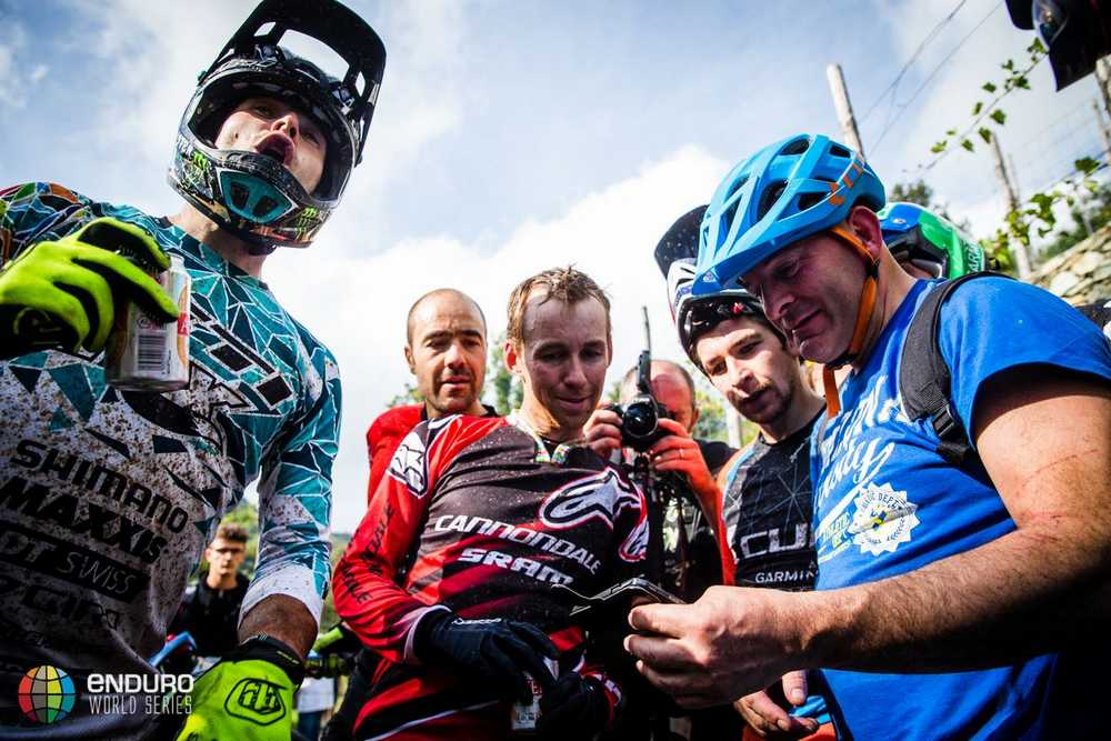 Jared Graves realises he has won. EWS round 8, Finale Ligure, Italy. Photo by Matt Wragg.