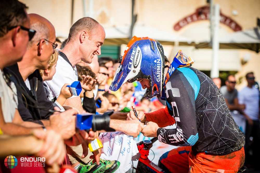 Nico Lau signs autographs for the fans. EWS round 8, Finale Ligure, Italy. Photo by Matt Wragg.