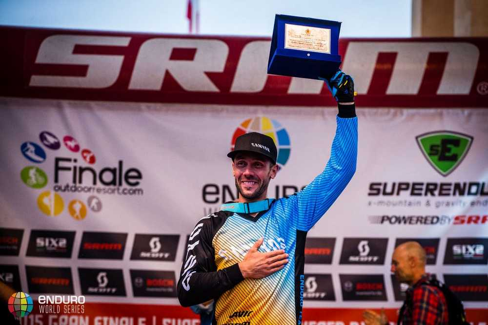 Fabien Barel receives a plaque from the organisers. EWS round 8, Finale Ligure, Italy. Photo by Matt Wragg.