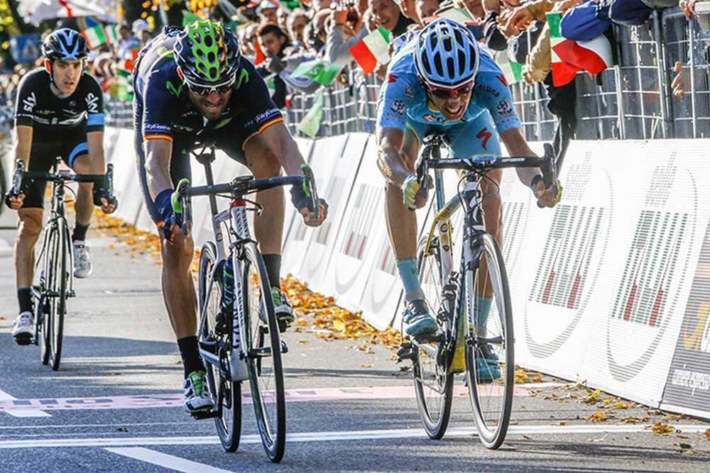 Il Lombardia 2015 - 109a Edizione - Bergamo - Como 245 km - 04/10/2015 - Alejandro Valverde (Movistar) - Diego Rosa (Astana) - foto Luca Bettini/BettiniPhoto©2015