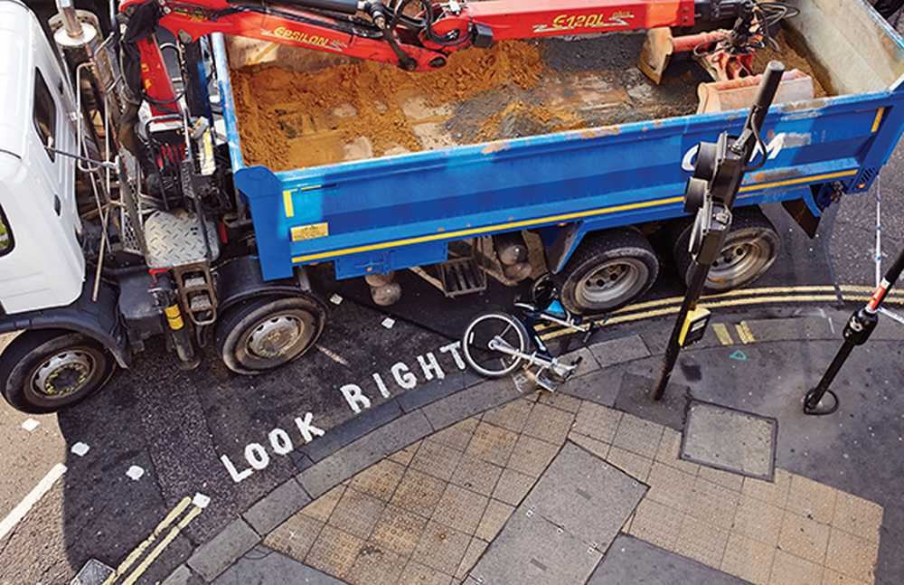 Bicycle and Lorry Accident, London, UK.