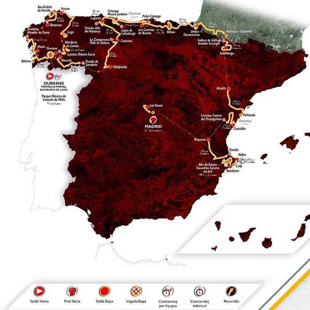 Recorrido del La Vuelta Ciclista a España, mucha montaña