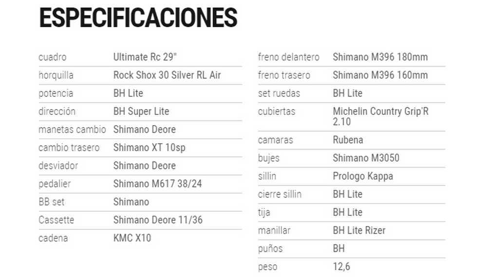 BH ULTIMATE 29er especificaciones