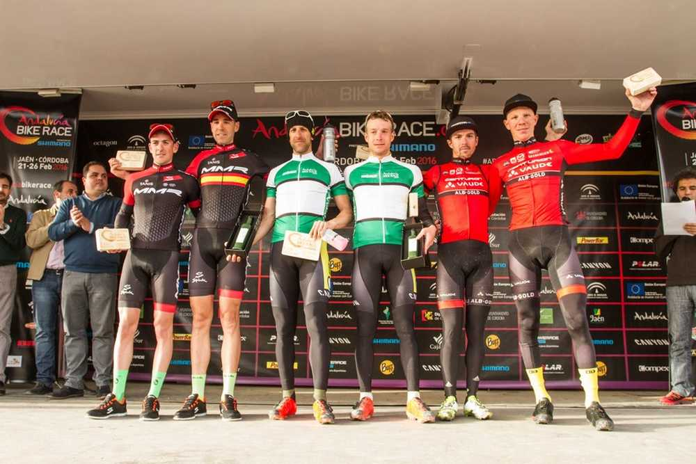 Podio elite ,masculino primera etapa de Andalucía Bike Race presented by Shimano 2016