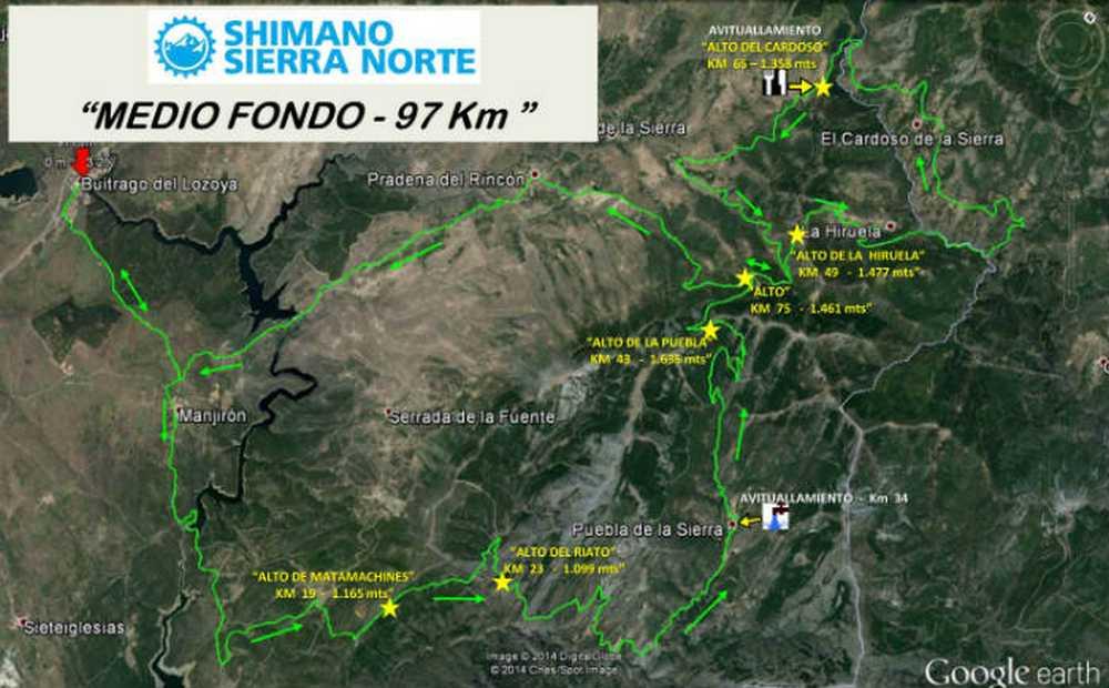 recorrido-medio-fondo Shimano Sierra Norte 2016