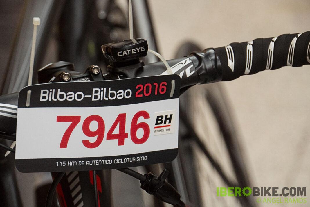 dorsal de la marcha ciloturista bilbao-bilbao en la bicicleta
