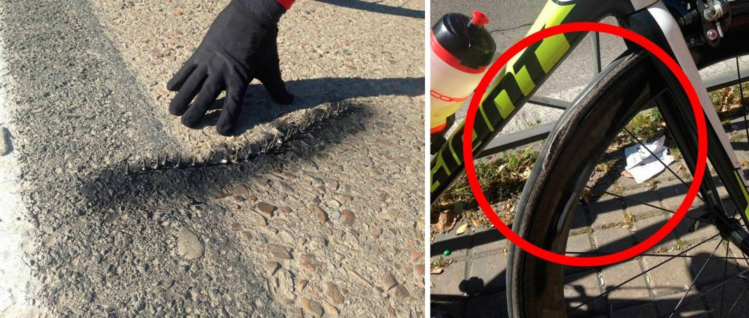 aparecen trampas para ciclistas en la carretera de titulcia con tornillos
