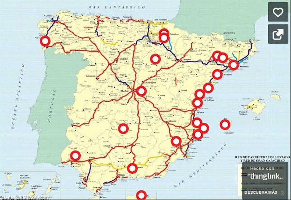 Mapa de los puntos negros para los ciclistas en España en 2017