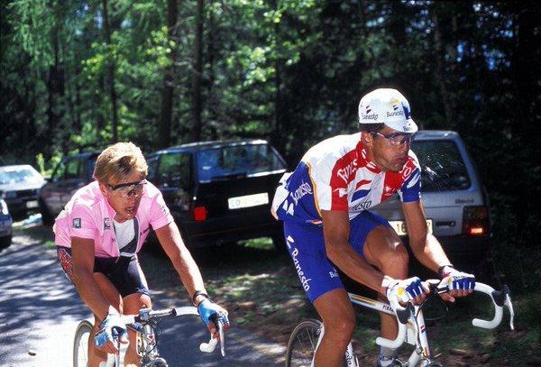 Eugeni Berzin & Miguel Indurain. Merano-Aprica, Giro 1994.