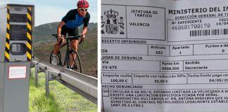 ciclista multado por exceso de velocidad