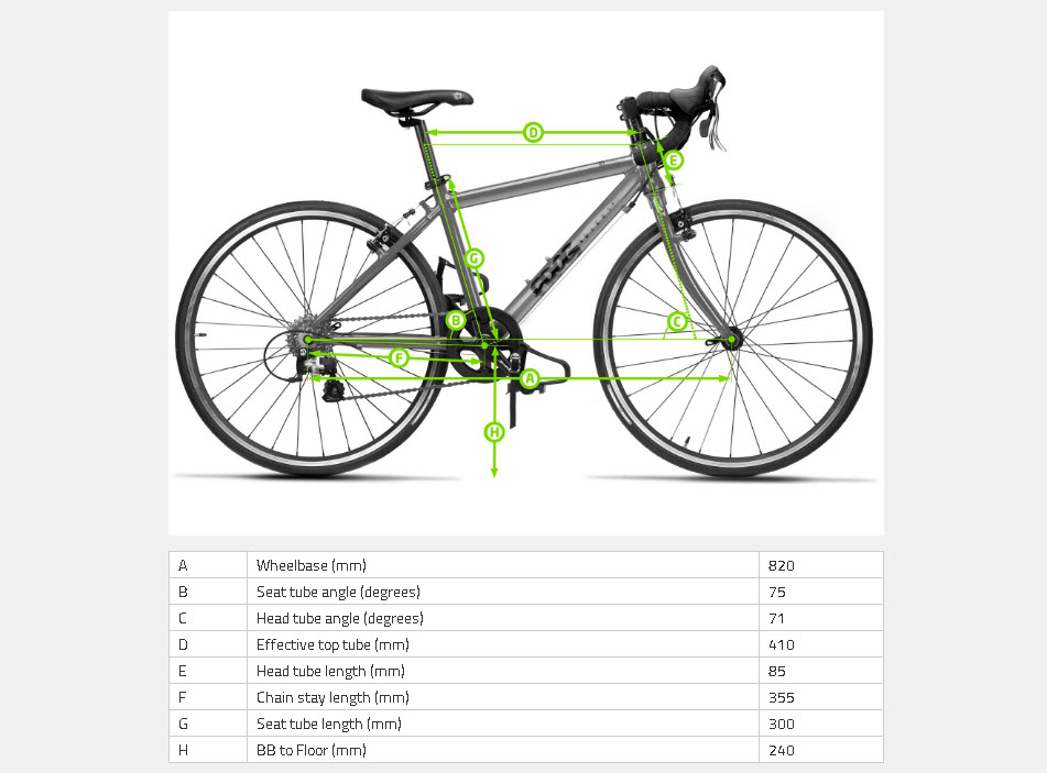 geometria de la bicicleta para niños frog bikes road 58