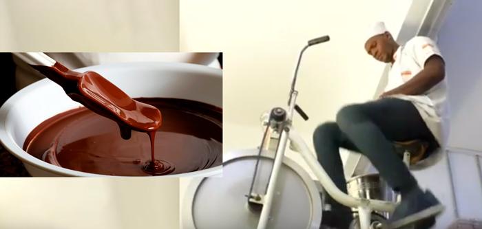 bicicleta para hacer chocolate