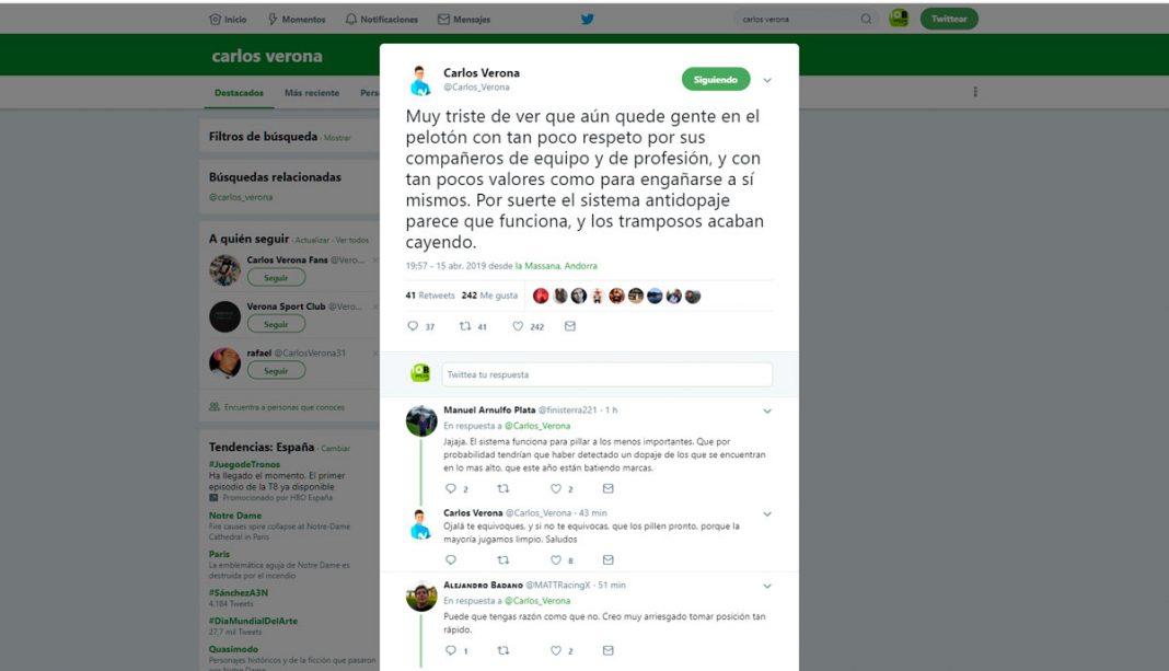 carlos verona y su comentario sobre el positivo de Jarlinson Pantano