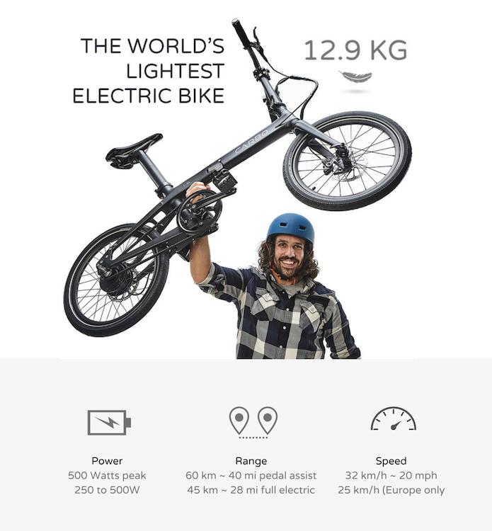 carbo la bicicleta eléctrica plegable más ligera del mundo.