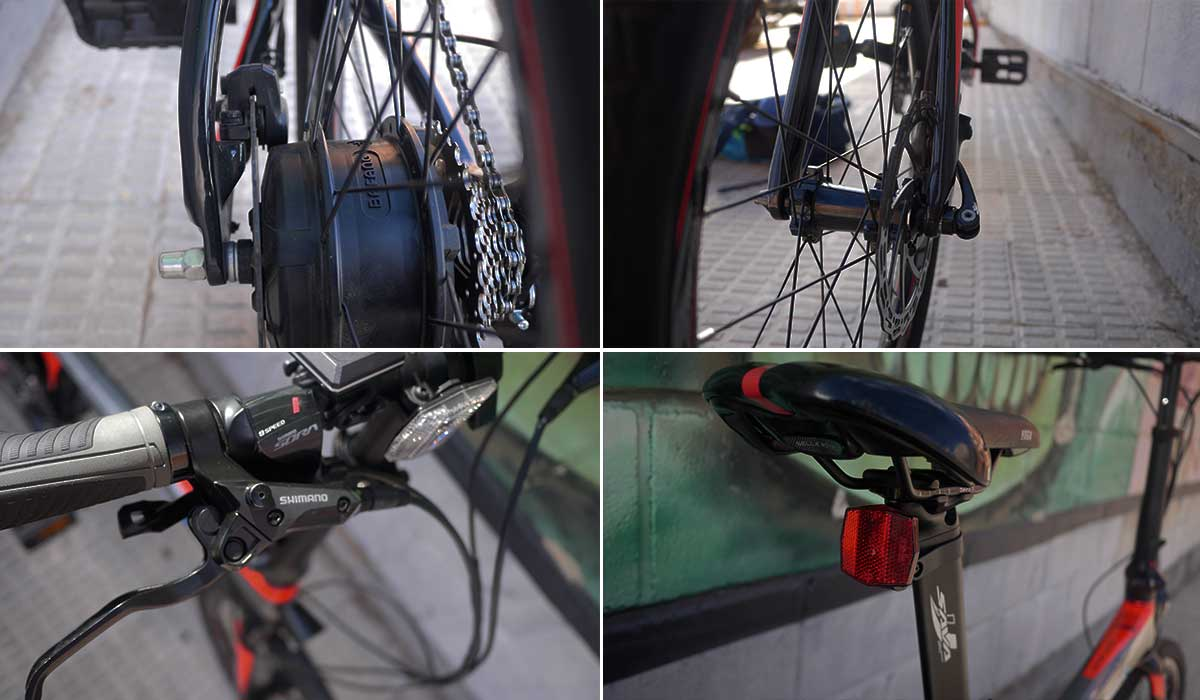 sistema de transimison y frenado Bicicleta eléctrica Plegable de carbono Ebroh Pasione