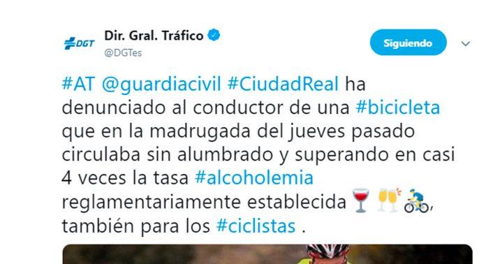 la dgt publica un tweet sobre el alcohol y los ciclistas