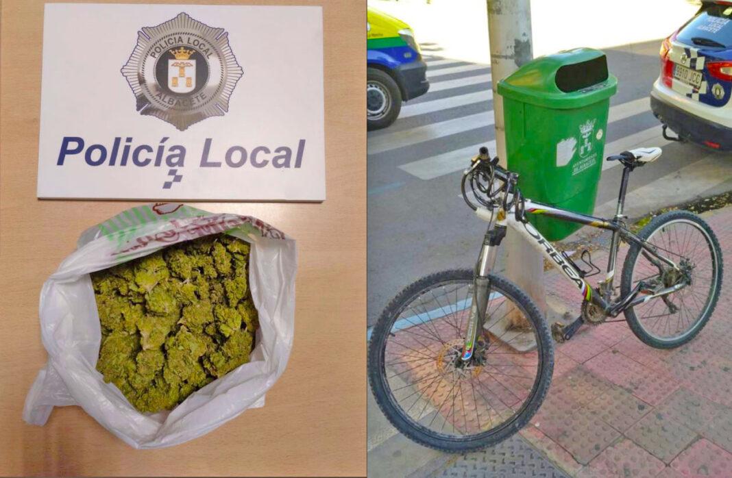 En bici en sentido contrario, drogado, y con 9 bolsas de marihuana en Zaragoza