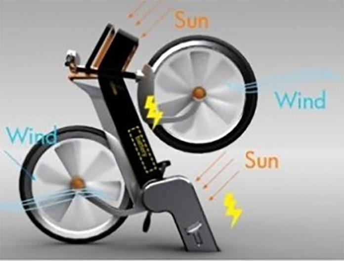 Una bicicleta que produce energía solar y eólica al pedalear
