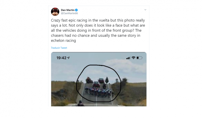 el ciclista Dan Martin se queja de los coches en La Vuelta