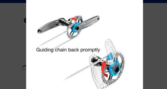 sistema denominado Chain Snatcher (ladrón de cadenas) que consigue colocar la cadena en caso de que se salga por la parte externa del plato.