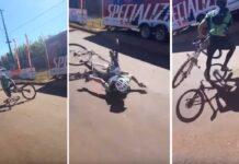 Ciclista se cae celebrando la victoria y pierde la carrera